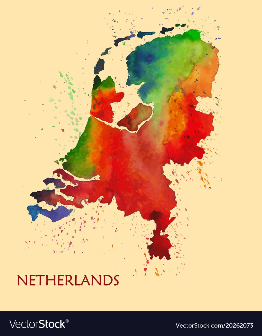 Hand drawn watercolor map of netherlands