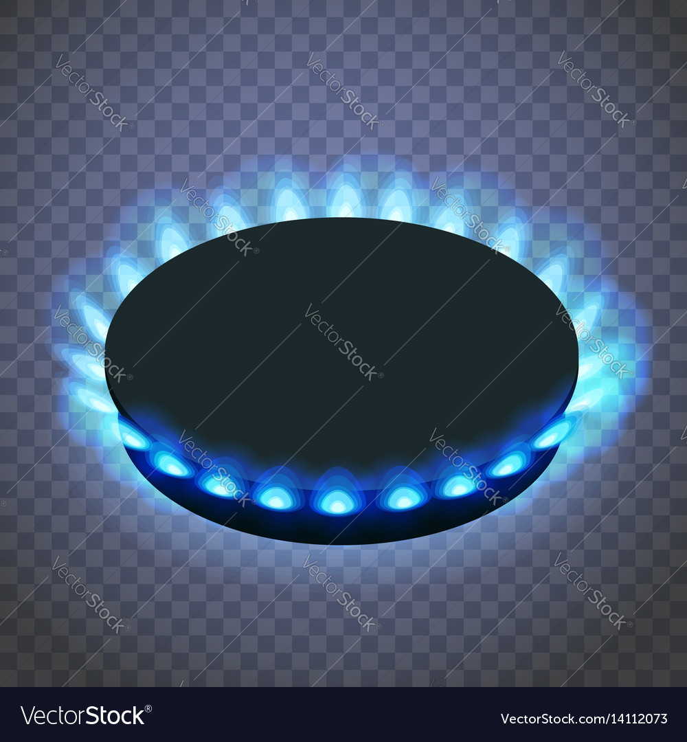 Isometric gas burner or hob on a transparent