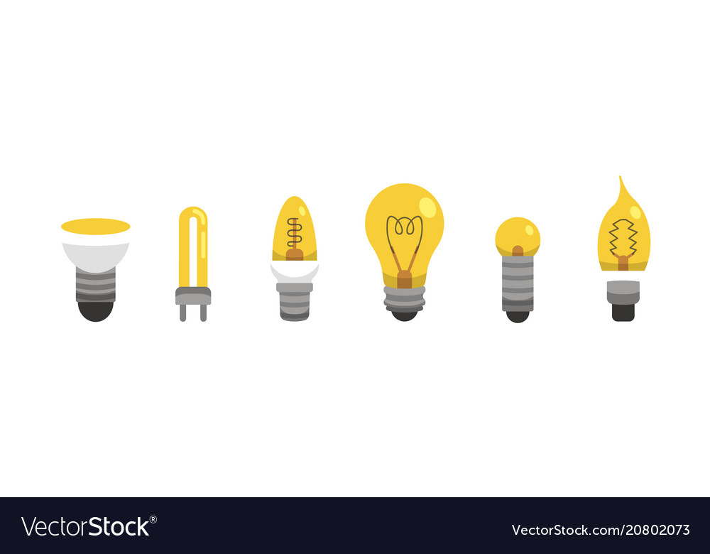 Light bulb and lamp set in cartoon style main