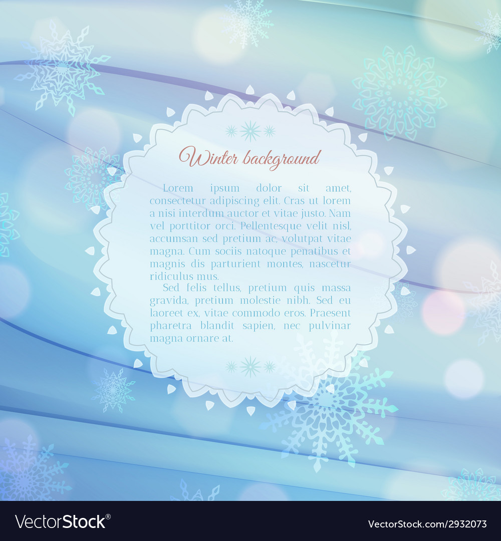 Magical snowflake background with frame for text