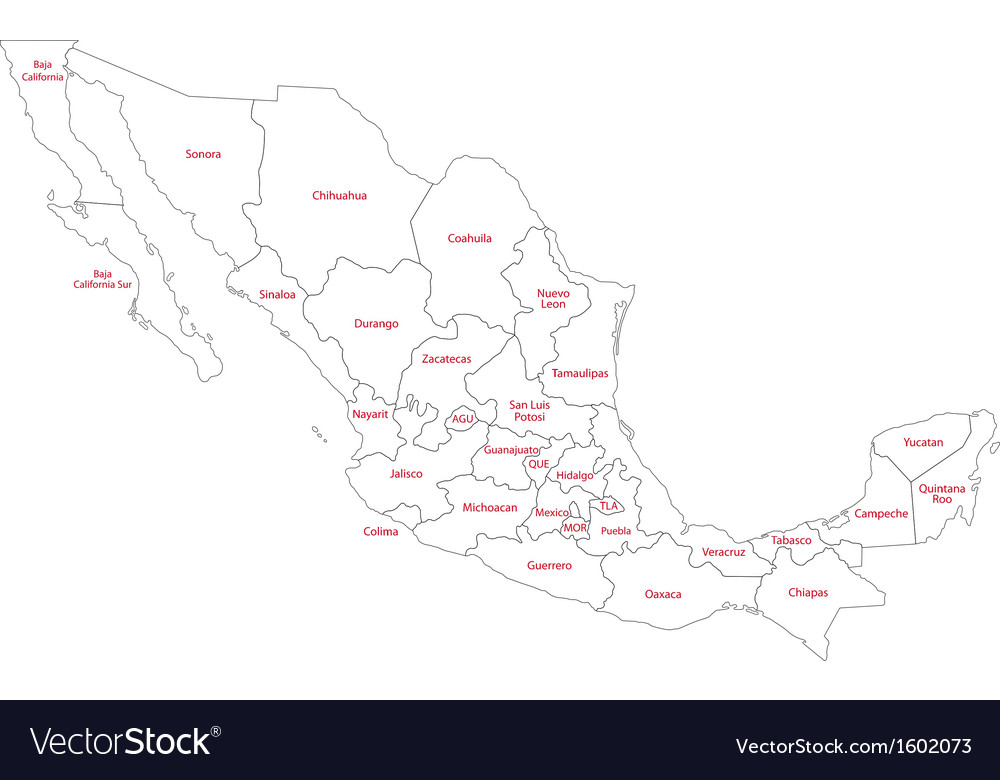 Outline Mexico map vector image
