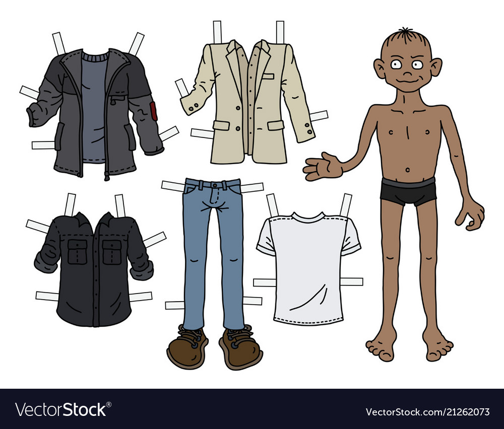 Paper doll boy vector