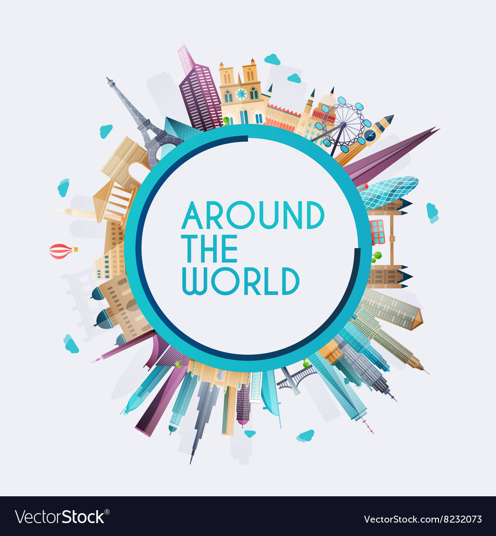 Planet Earth Travel The World And Tourism Vector Image