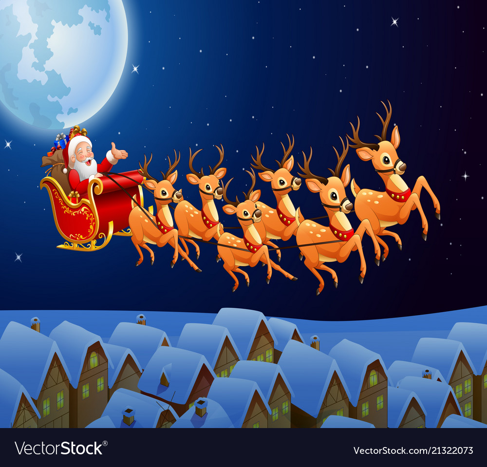 Picture Of Santa And His Reindeer - picture of