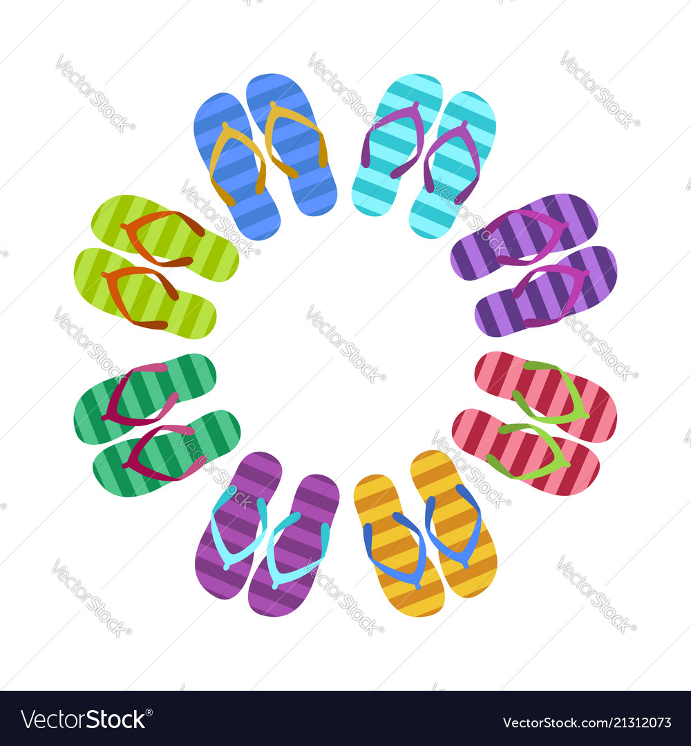 a82cbad2a187a Summer colorful flops in circle Royalty Free Vector Image