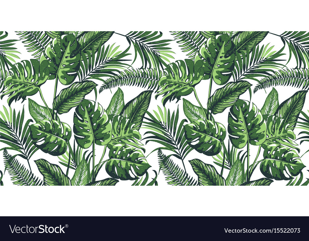 Tropical Seamless Pattern With Palm Leaves Vector Image Stunning Tropical Leaves Pattern