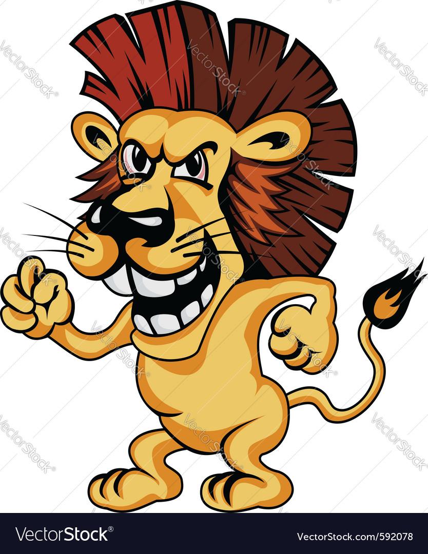 Angry cartoon lion vector image