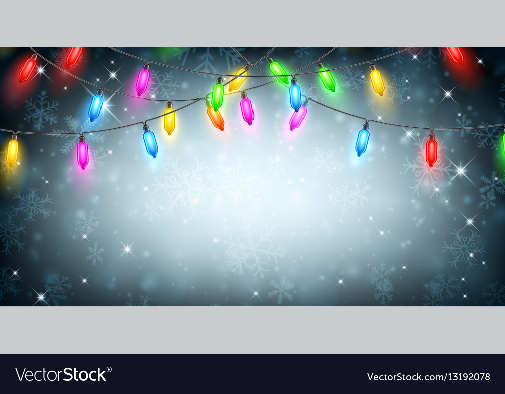 Banner with Christmas lights and snow