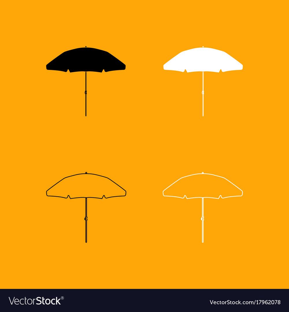 Beach umbrella set black and white icon vector image