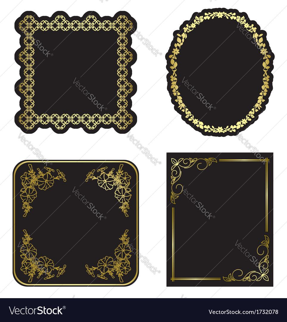 162135ef21c Black and gold vintage frames - set Royalty Free Vector