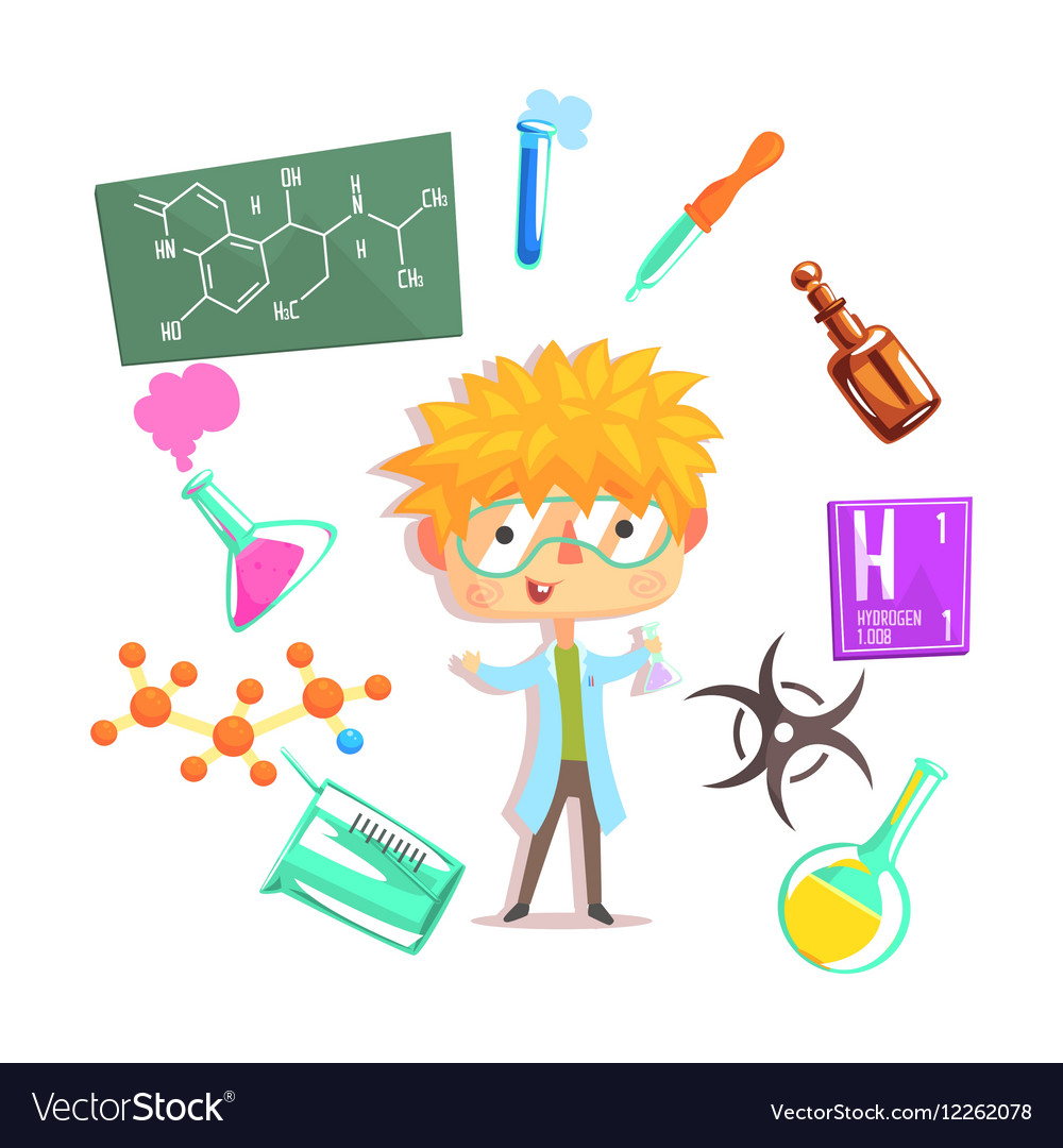 Boy Chemist Kids Future Dream Professional vector image