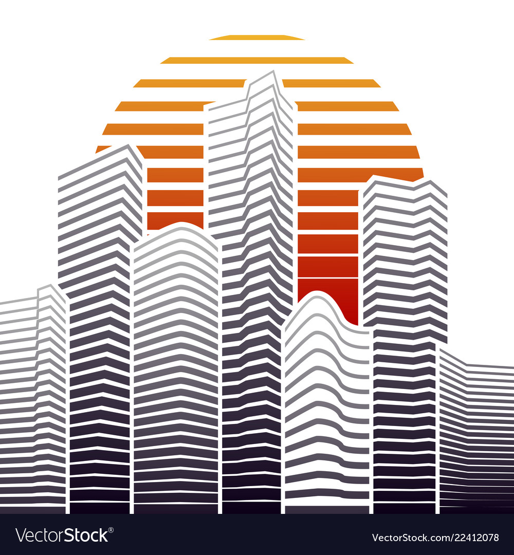 City skyline in flat style urban landscape