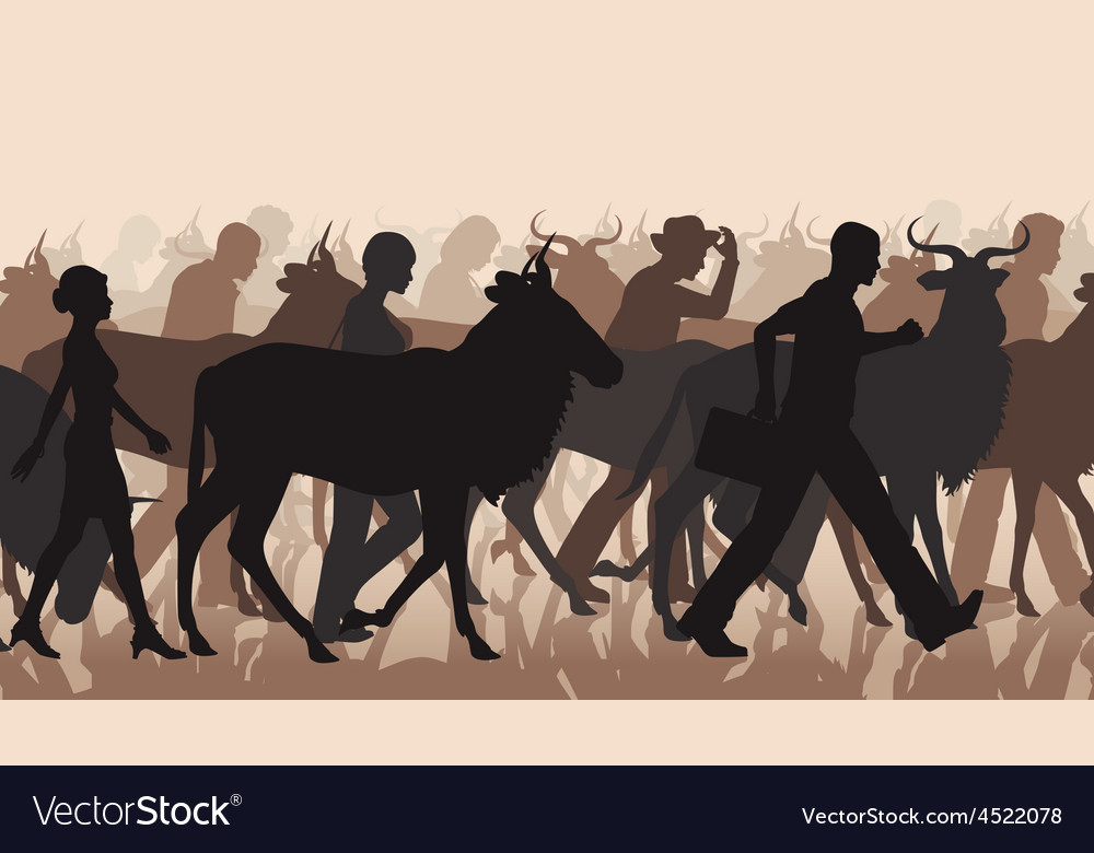 Commuting people and wilderbeest