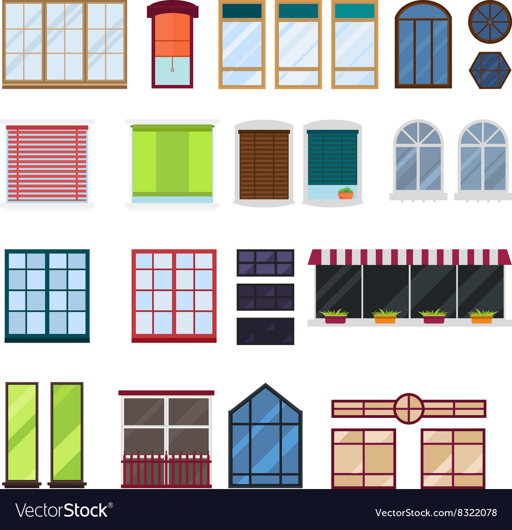 Diffe Types House Windows Elements Vector Image