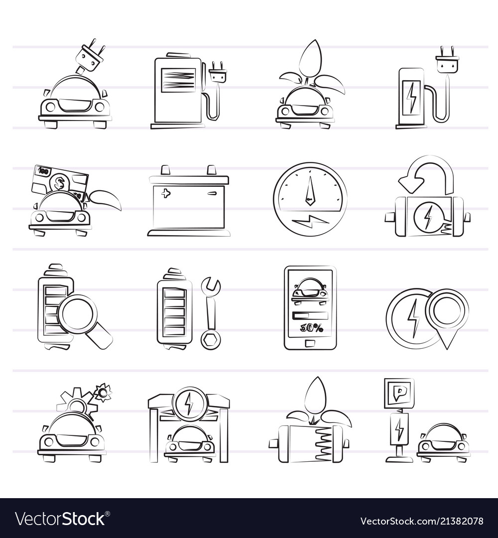 Ecology and electric car icons
