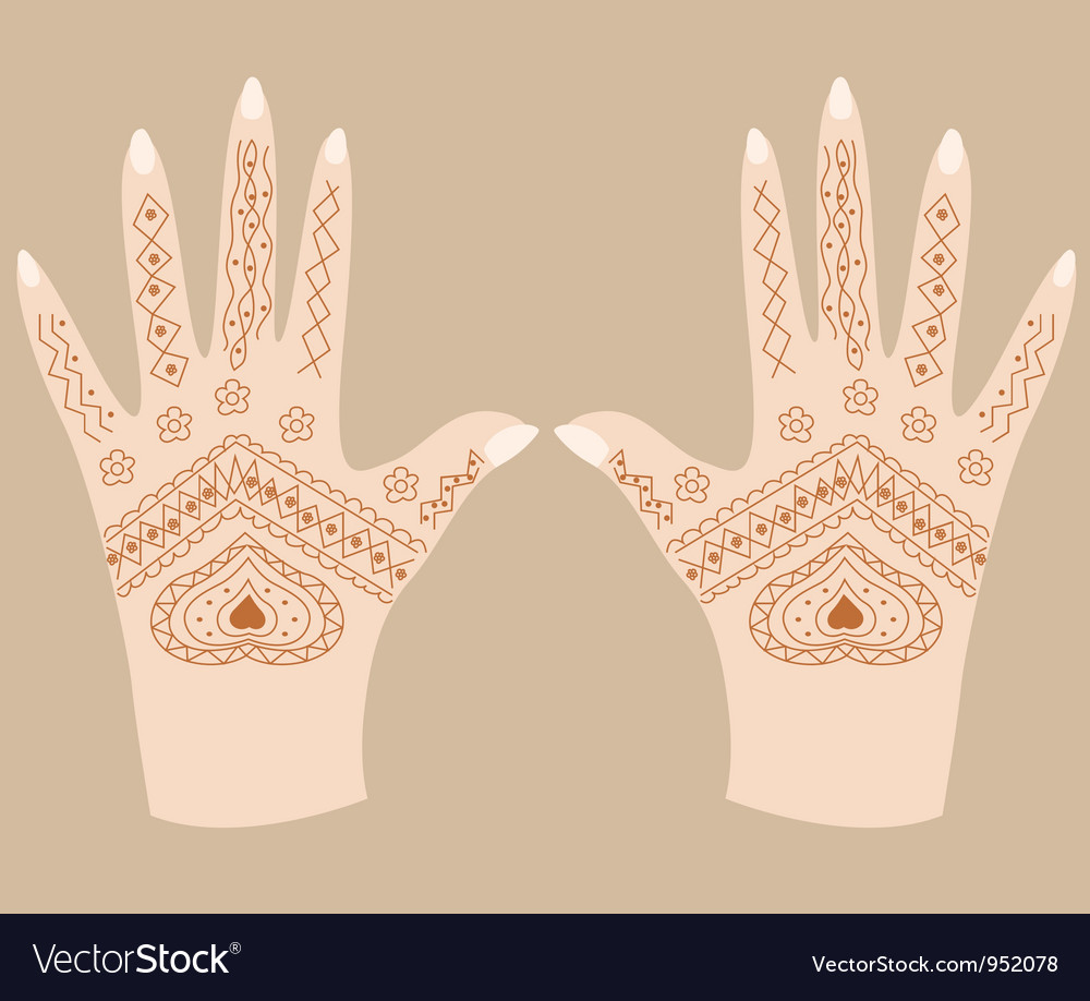 Hands With Henna Royalty Free Vector Image Vectorstock