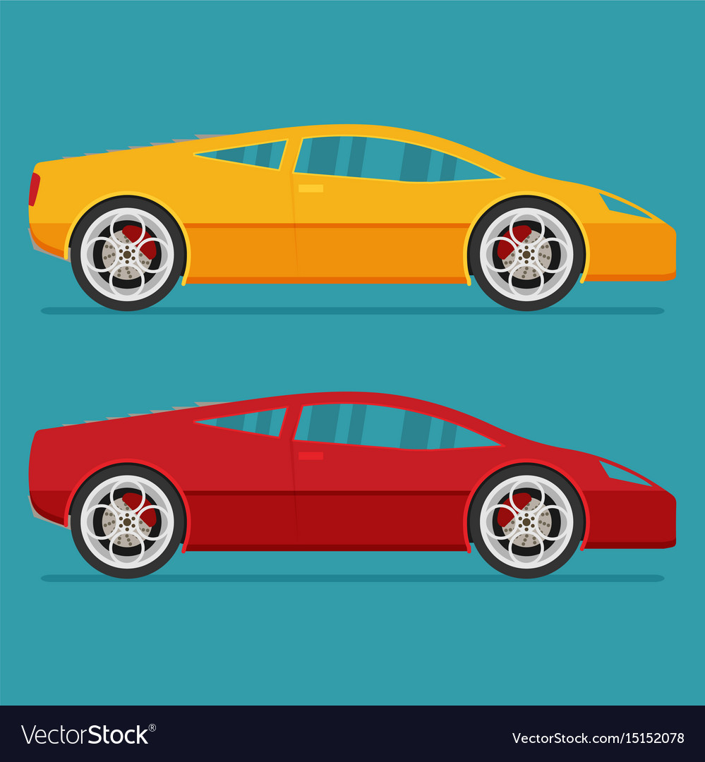 Isolated sport cars flat design style