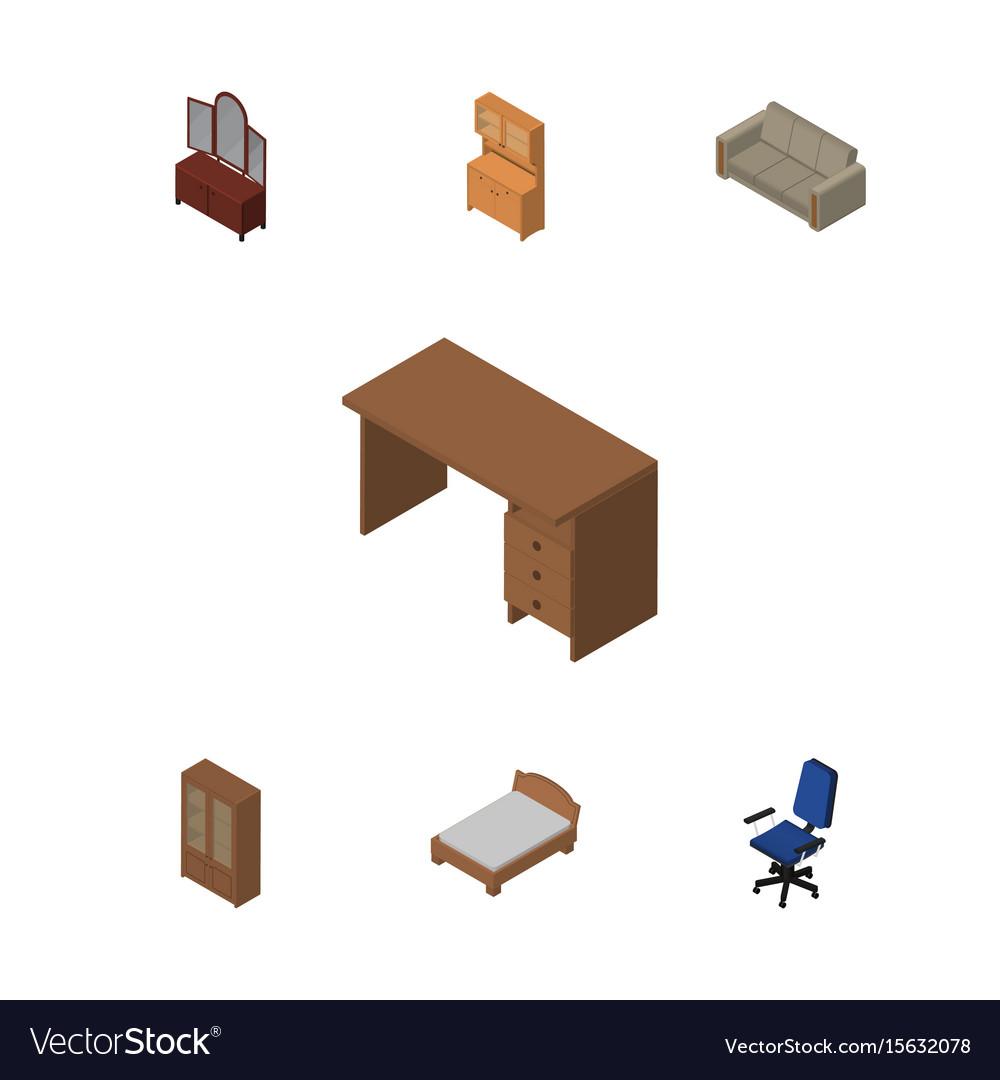 Isometric furniture set of table drawer office vector image