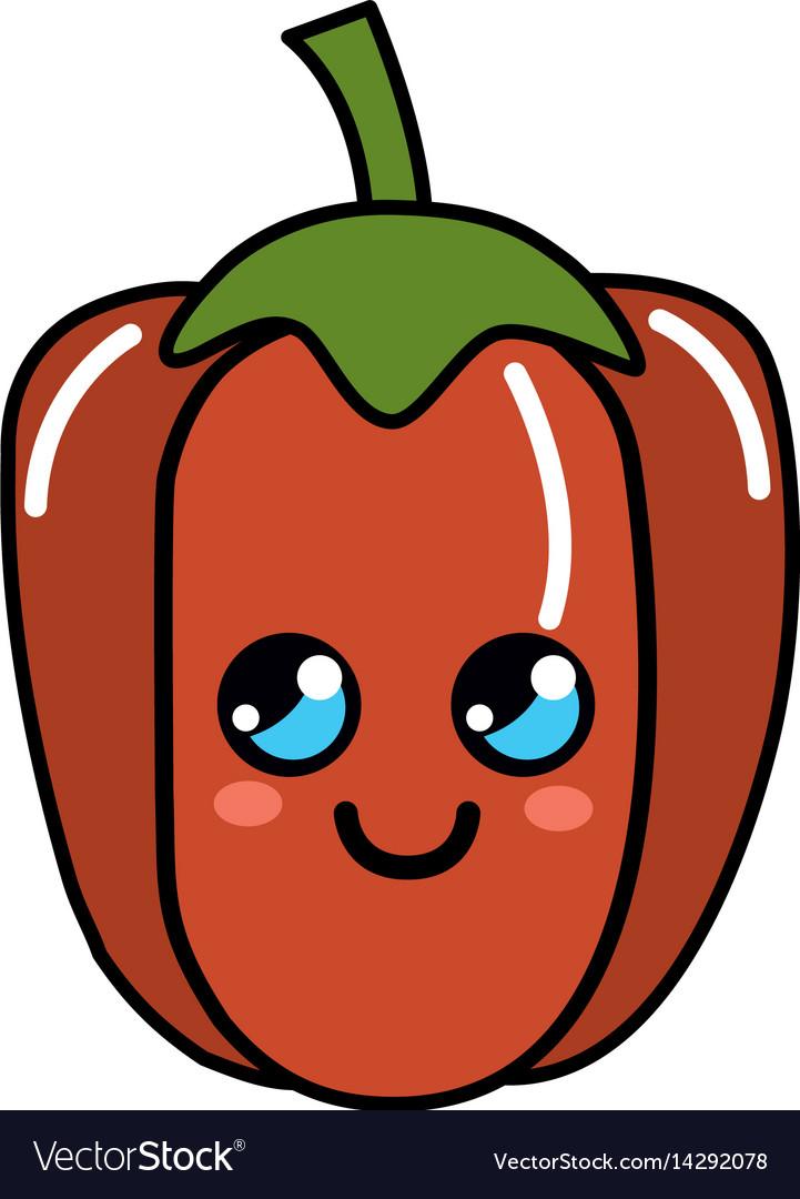 Kawaii cute thinking pepper vegetable