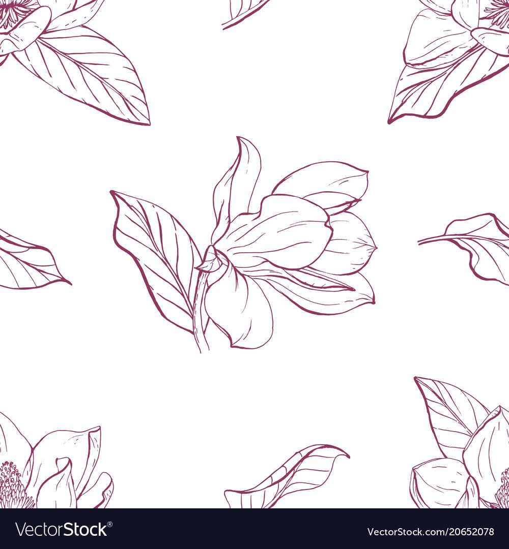 Magnolia bouquet seamles pattern