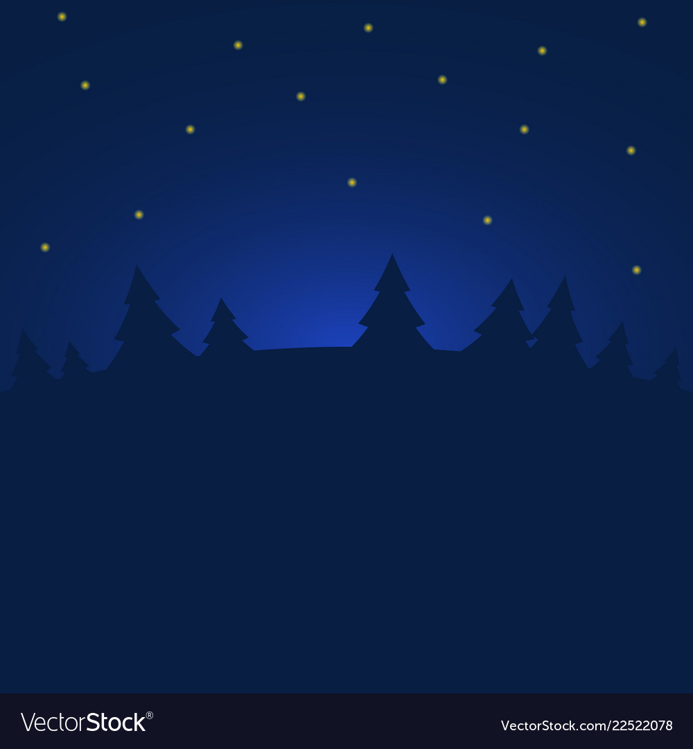 Night winter forest with stars