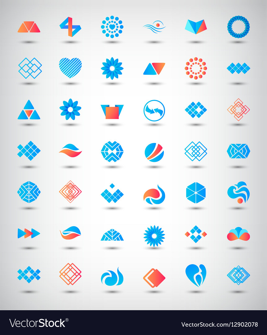 Set of 42 abstract logos icons