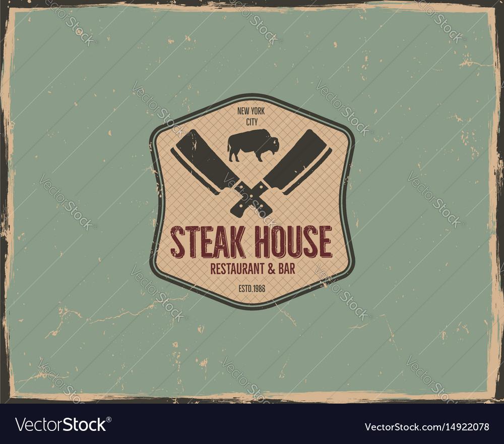 Steak house logo design bar and grill logotype