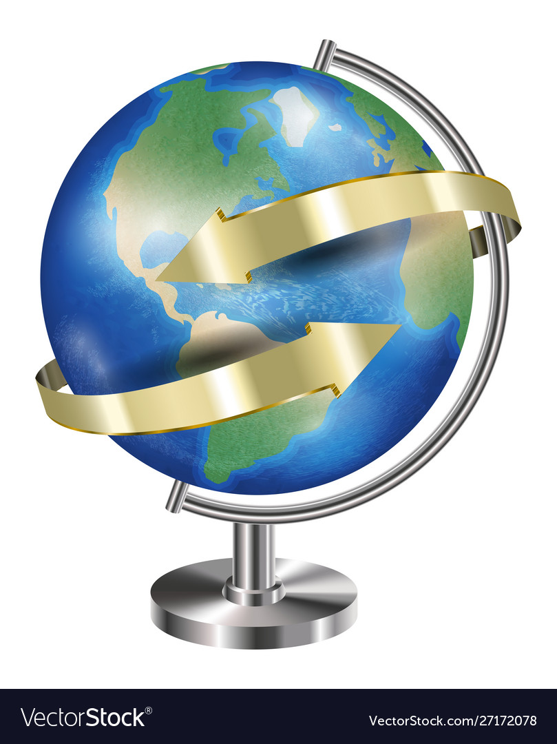 World earth planet globe with gold arrow around