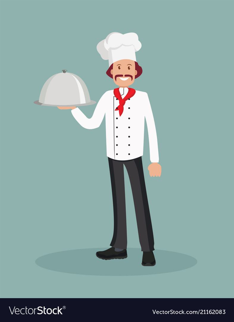 A male chef with a cooked dish