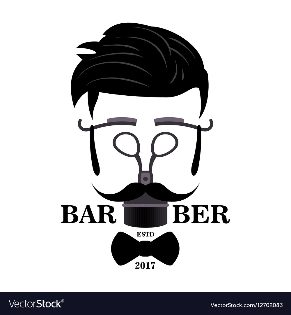 Barber shop hipster silhouette logo hairstyle man