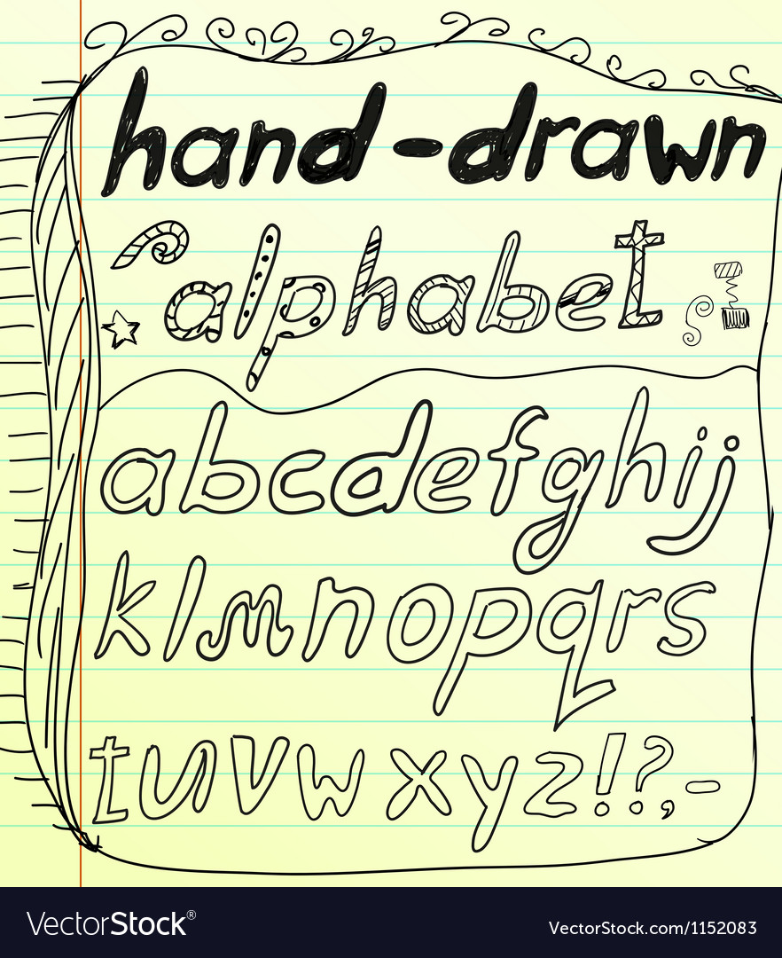 Black hand drawn alphabet doodles vector image
