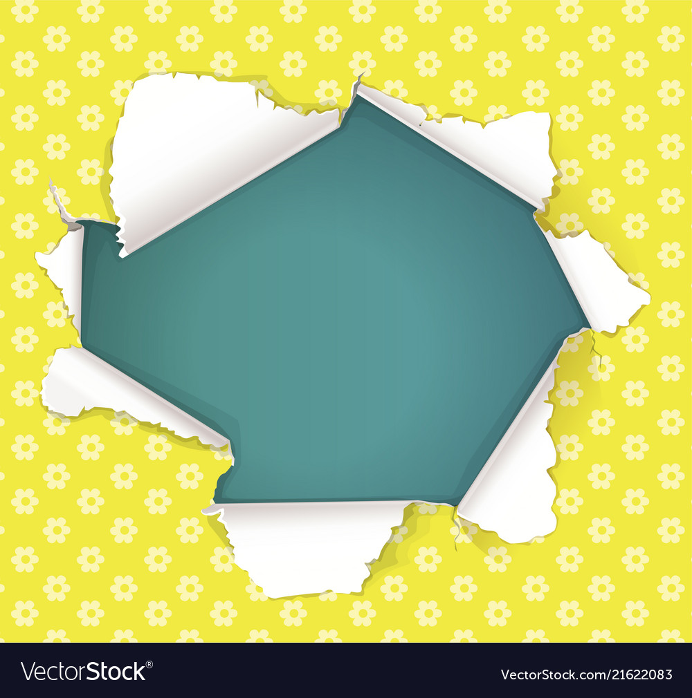 Broken hole in yellow paper in flowers place