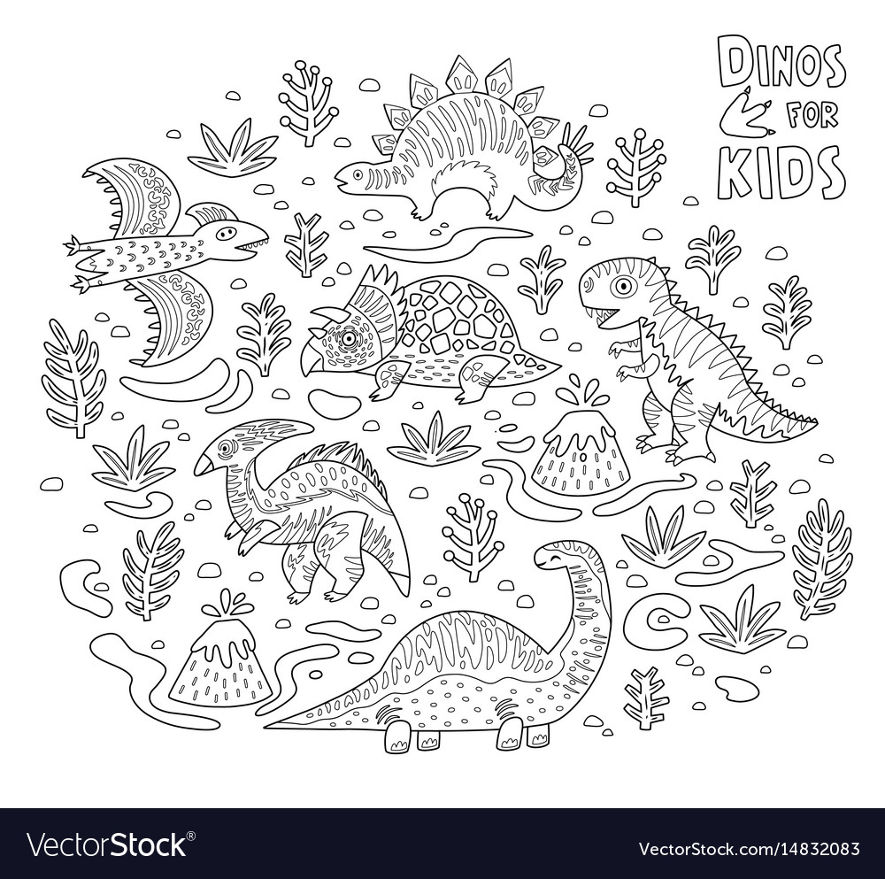 Cartoon dinosaurs collection in outline