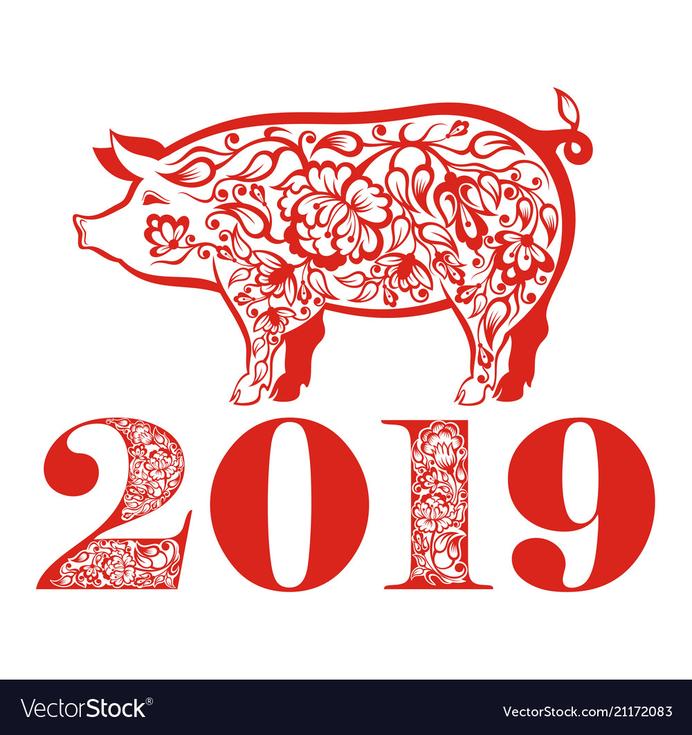 Chinese new year greetings card with red pig