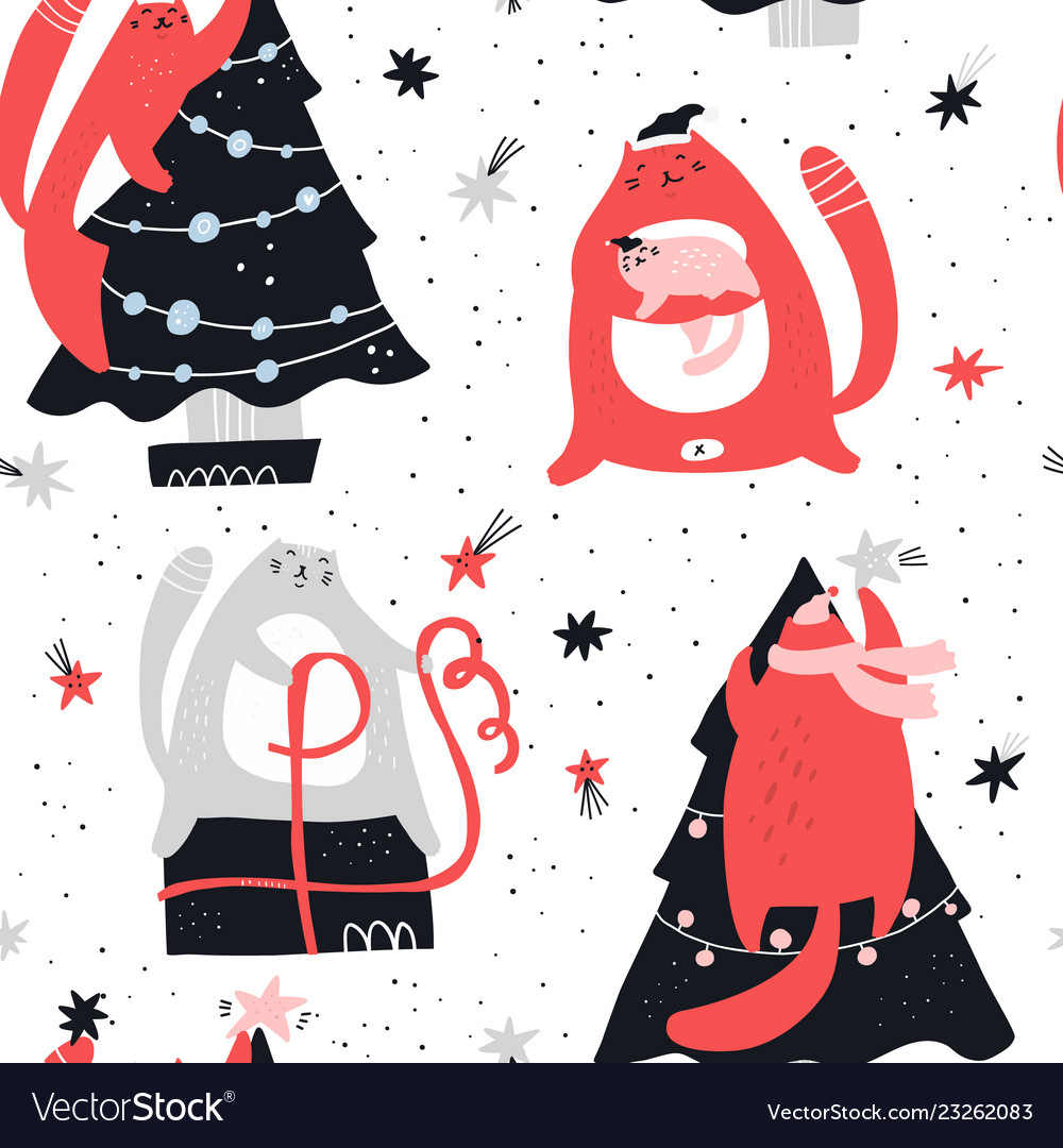 Christmas cute hand drawn seamless pattern