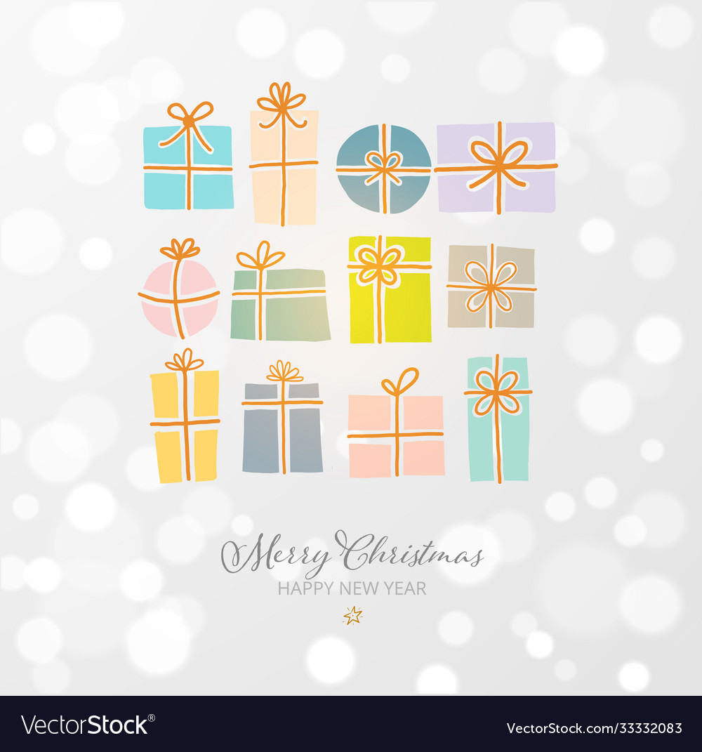 Christmas greeting card with gift boxes on white