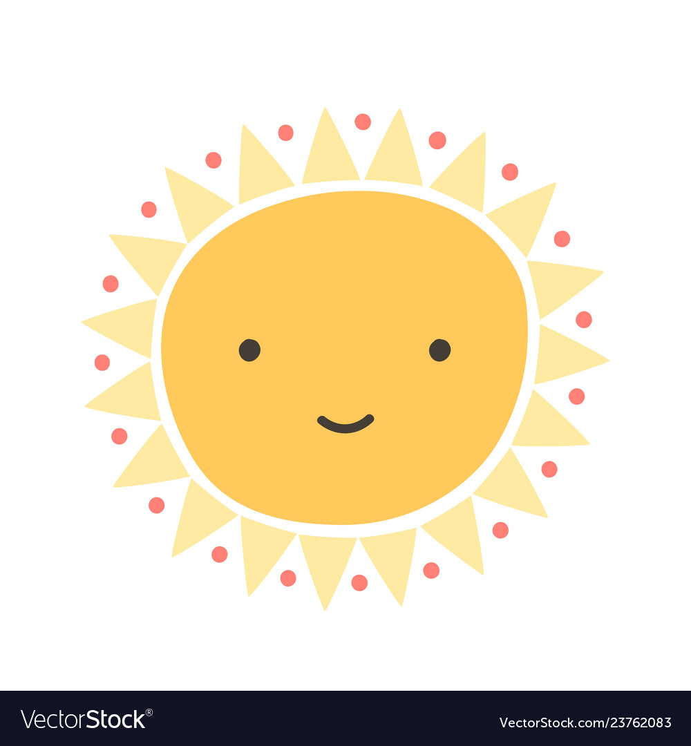 Cute funny sun with smiling face isolated on white