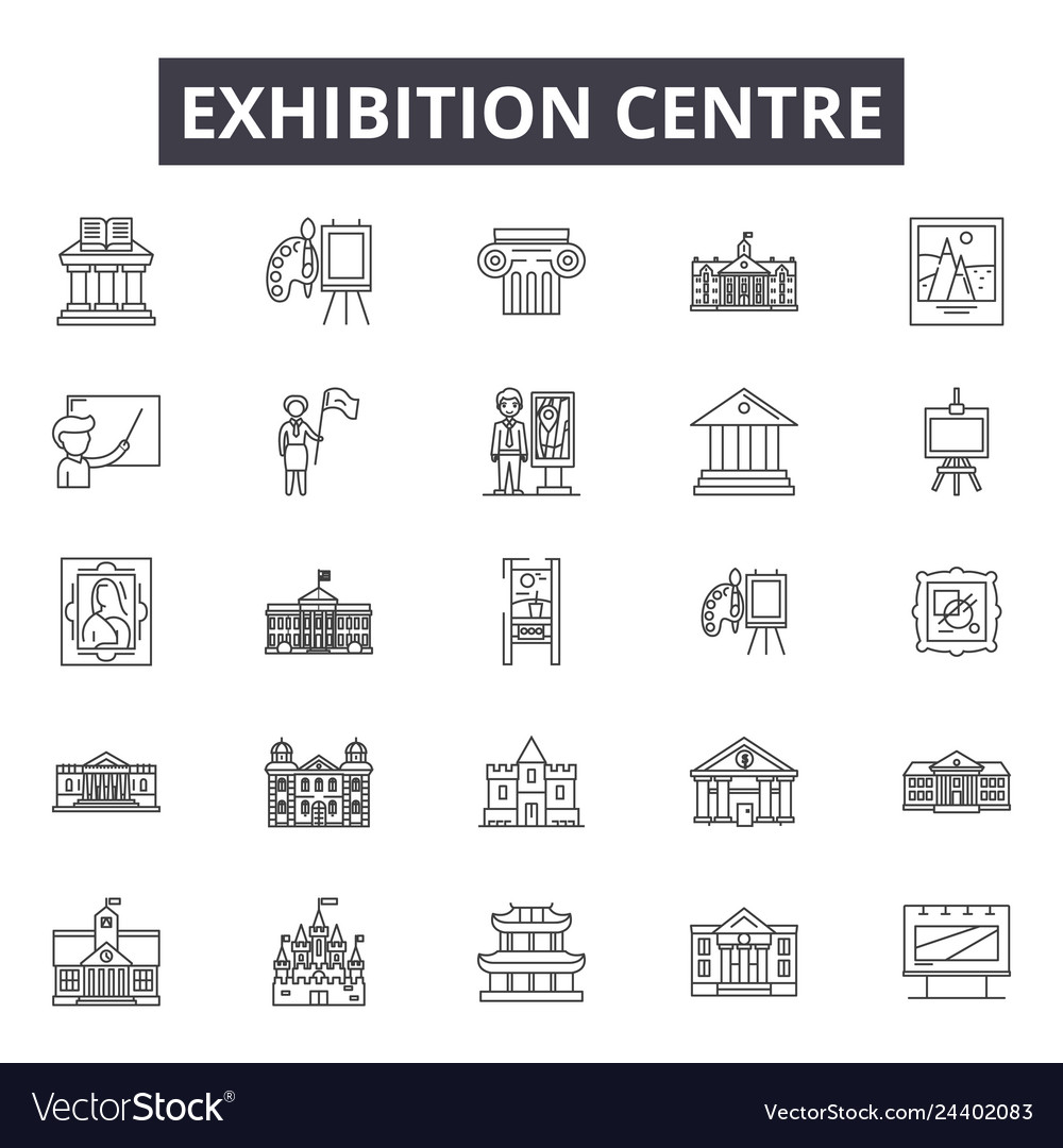 Exhibition centre line icons for web and mobile
