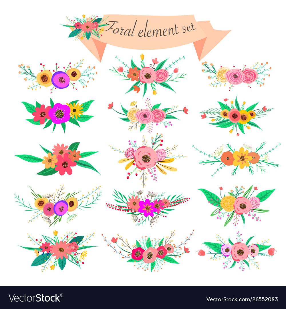 Floral element set decorative flower and leaf
