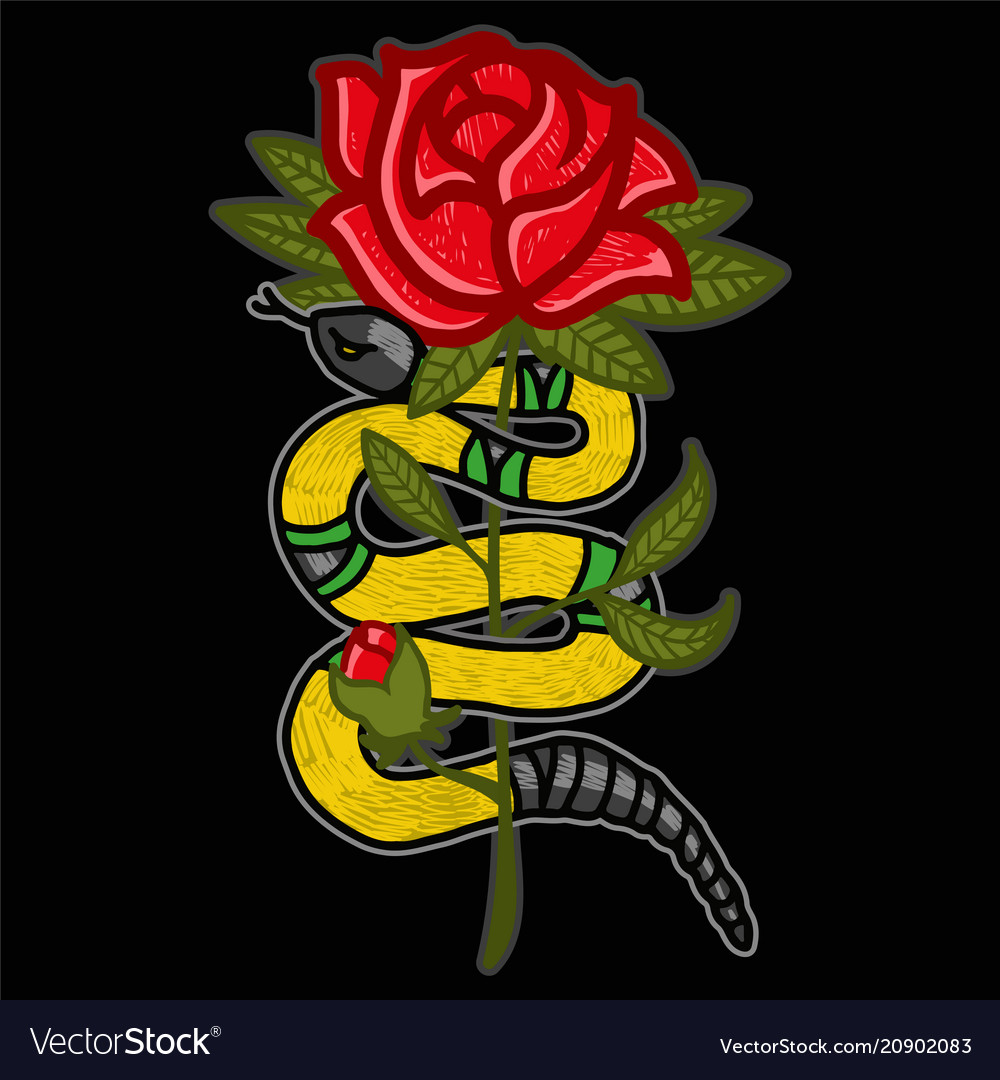 Gold snake with rose