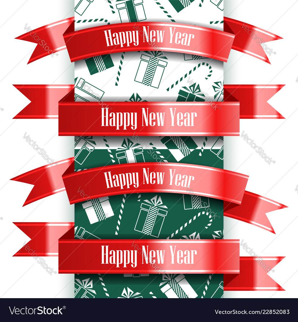 Happy new year ribbon set and seamless pattern