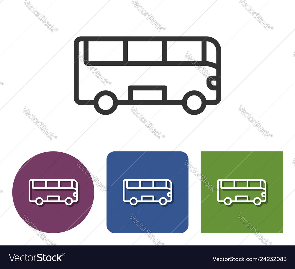 Line icon bus in different variants