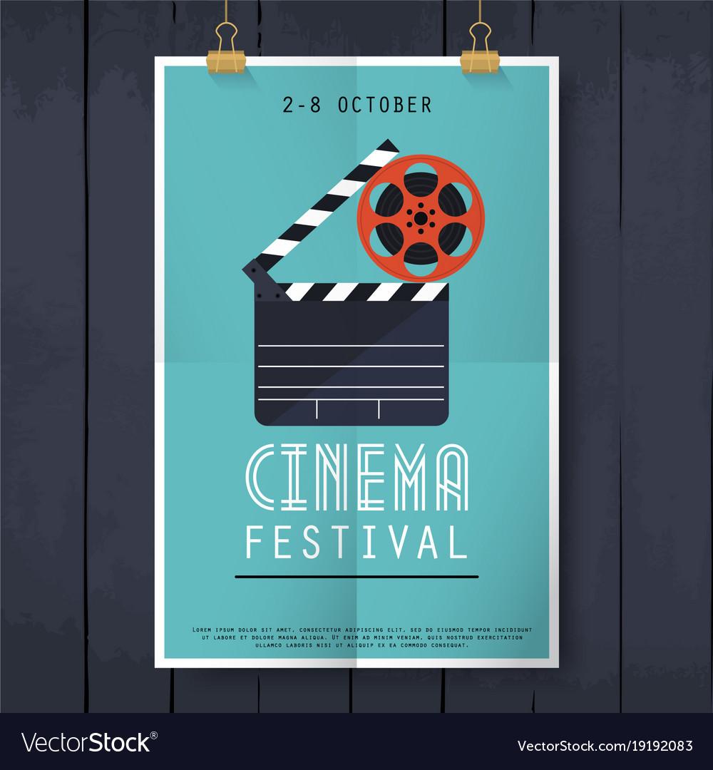 Movie cinema festival poster flat design modern vector image