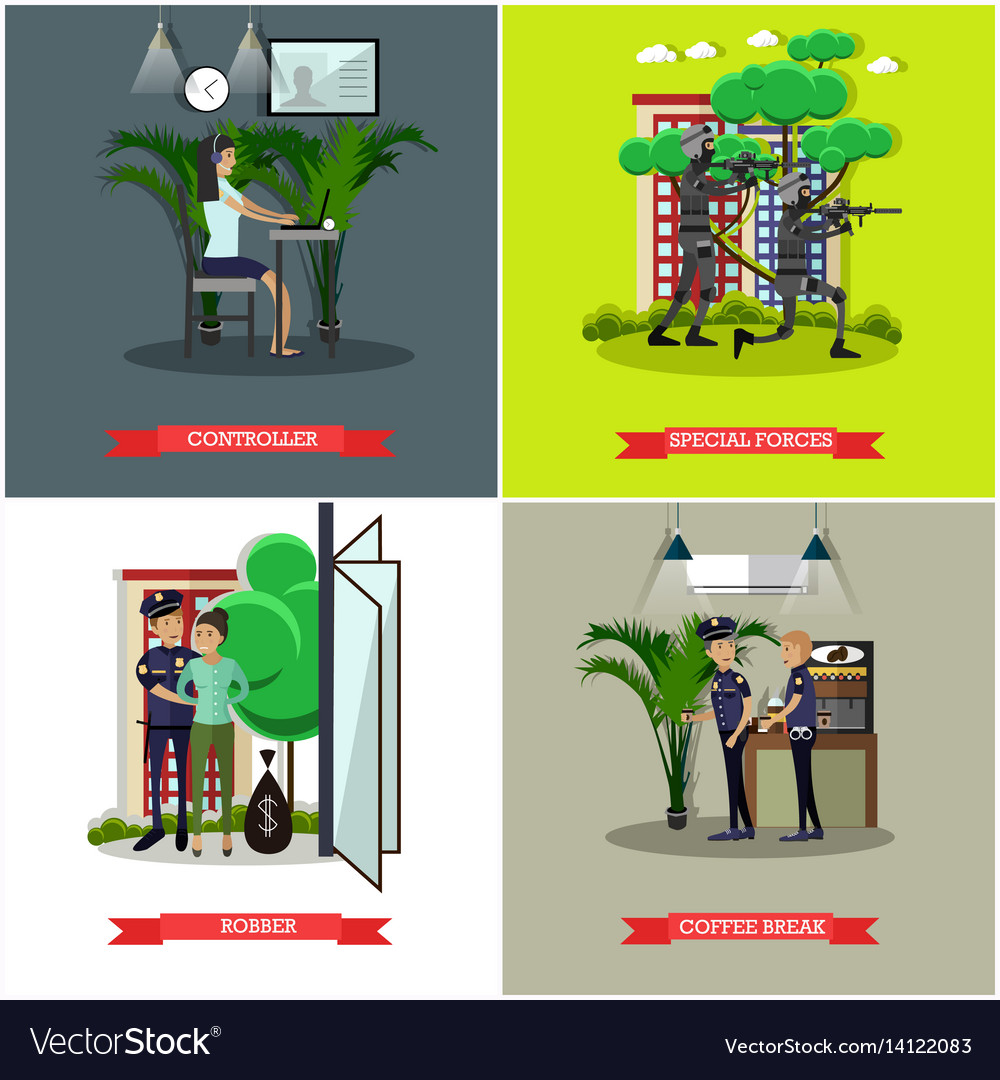 Set of catching thief concept posters in