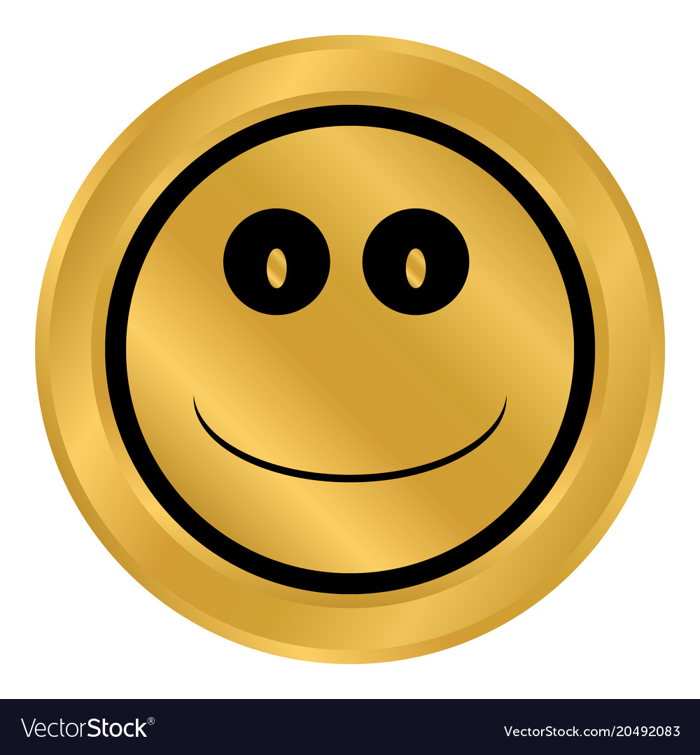 Smile face circle button vector image