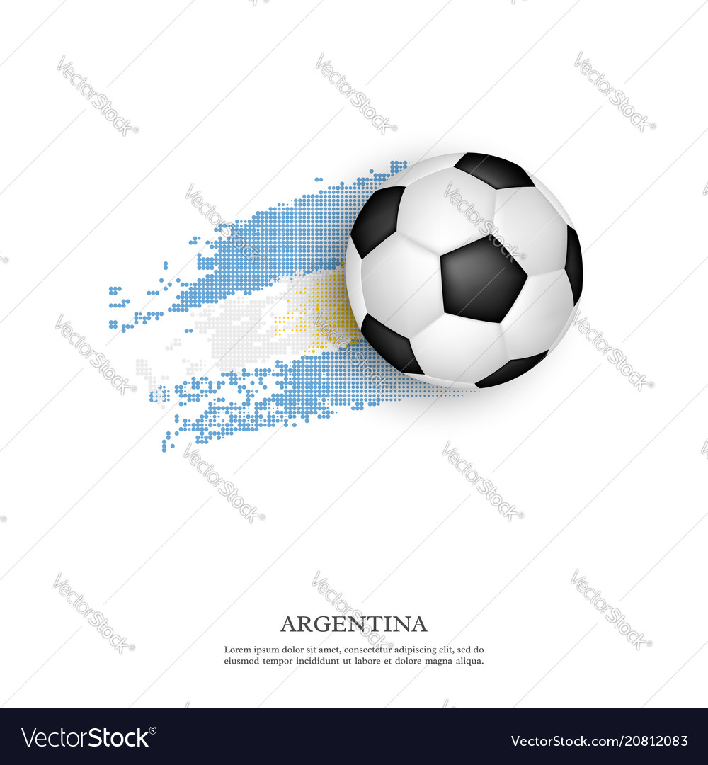 Soccer ball on argentina flag vector image