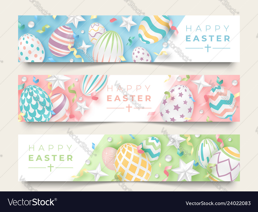 Three easter horizontal banners with realistic