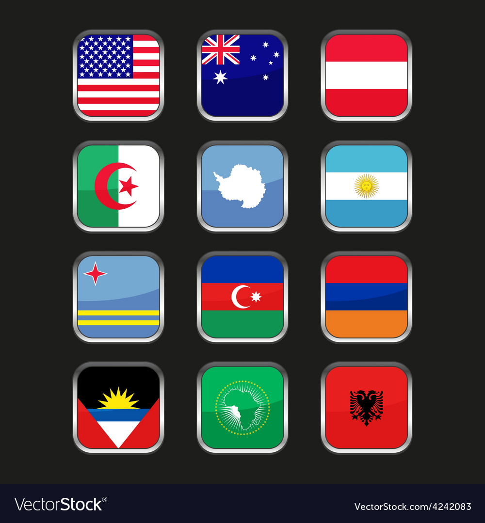 World Flags Icons Set Name Country Letter A Vector Image