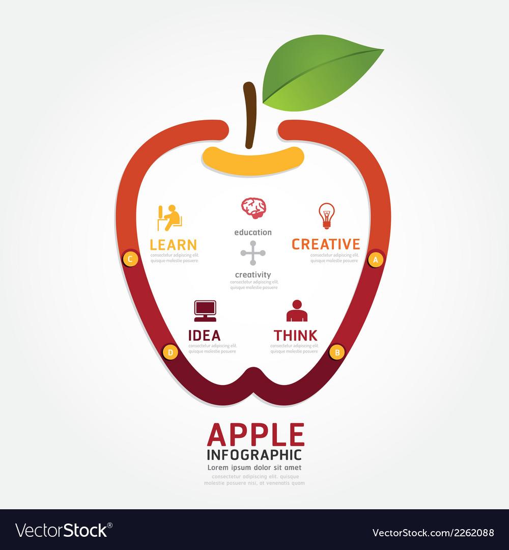 Apple brain design diagram line style infographics