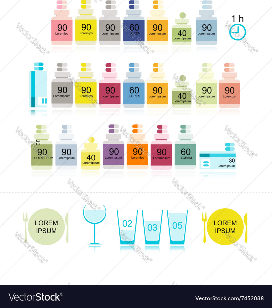 Bottles with pills for your design vector image